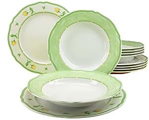 Creatable 11563 Alba Spring Rose, Service de Table de 12Pièces Porcelain Multicolor 29x25x30 cm 12 unité(s)