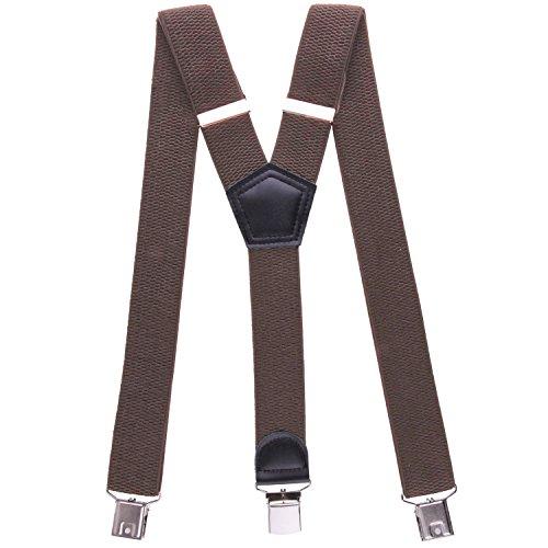 Buyless fashion bretelle a y posteriore da uomo resistenti ampie regolabili ed elastiche-5117 colore: brown 3 cm