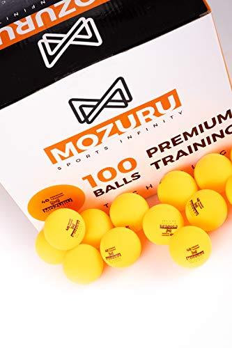 MOZURU Balles de ping 100 unités, Balles de Tennis de Table 100 unités, Premium Training 40+,Couleur Orange, Plastique ABS