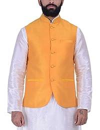 Kisah Jaffa Yellow Dupion Silk Men's Waistcoat