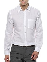 Turtle Men's White Cotton Linen Slim Fit Formal Shirt