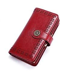 25d4d44a70 Portafoglio Donna Vera Pelle Elegante Porta Telefono Banconote Donna Carte  di Credito Chiavi Grande Clip Portamonete