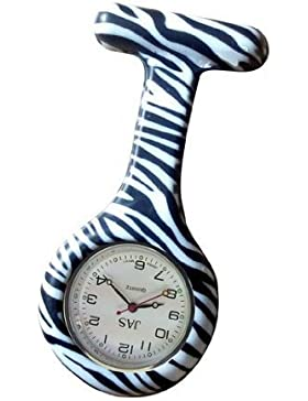Zebra-Druck Krankenschwestern Silikon Tunika Brosche Taschenuhr Boolavard® TM