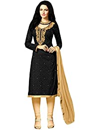 Radhey ArtsNew Designer Black And Cream Embroidered Cotton Dress Material With Matching Dupatta