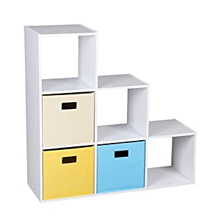 ASPECT Bookshelf/Bookcase/Toy,DVD Cabinet Unit with 6 Compartments and 3 Canvas Storage Bins, Oak, White, 88.8x30x88.8 cm