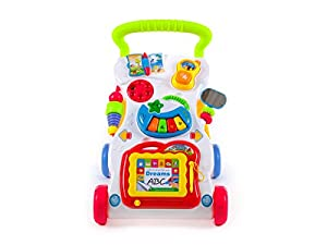 Baby Walker Sounds & Lights Push Along Walker First Steps KP1047 Musical Walker/Push along Sit-to-stand Learning Walker by Kinderplay