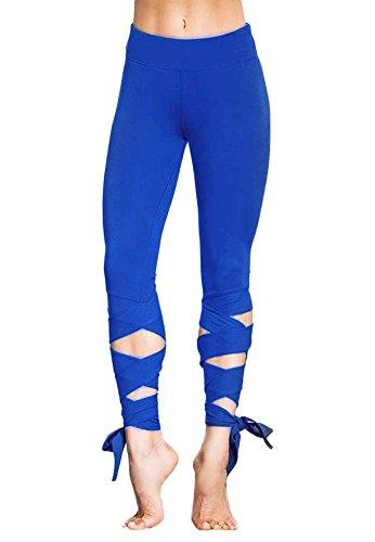 Minetom donne elastico magro pantaloni yoga sport palestra esercizio leggings pantalone sportivo allenarsi moda speciale bendare blu eu l