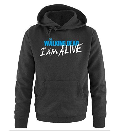 Comedy Shirts - The Walking Dead - I AM ALIVE - Uomo Hoodie cappuccio sweater - taglia S-XXL different colors nero / bianco-blu