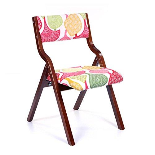 HETAO Kreativ Massivholz Sessel Klappstuhl Freizeitstuhl Schreibtisch und Stuhl Haushalt Essensstuhl Restaurant Erwachsene 46 * 41 * 42.5cm, Brown Frame Pandora Cloth (Braune Blumen Sackleinen)