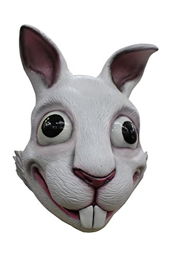 Killer-Bunny Latex-Maske Halloween weiss-schwarz Einheitsgröße