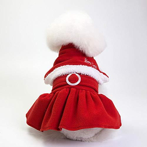 W&Z PET Kleidung Für Hunde Weihnachts Katzen Kleidung Santa Kostüm Winddicht Weich Warmes Kleid Für Mädchen Winter Rot,L