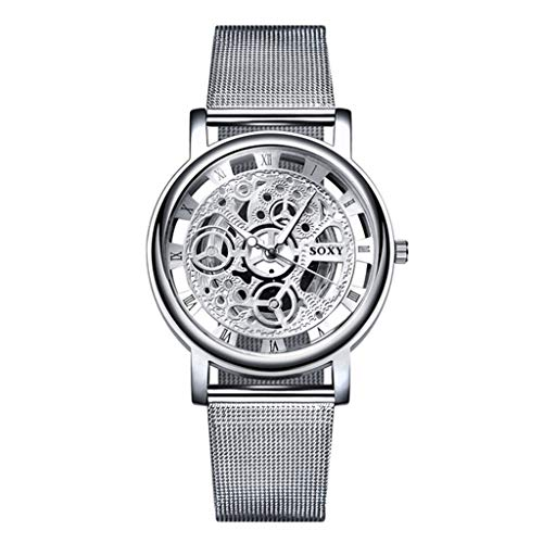 Männer Fashion Watch Silver Golden Luxury Hollow Steel Watches Men Unisex Hombre Quartz Wristwatch Clock Retro Uhr Armbanduhr(Silber) ()