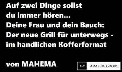 MAHEMA / Tragbarer Mini Grill inkl. Grillzange VEGGIE-Geeignet / Sommer-Modell 2019 / Holzkohlegrill, BBQ, faltbar, schwarz, Tisch outdoor, portable