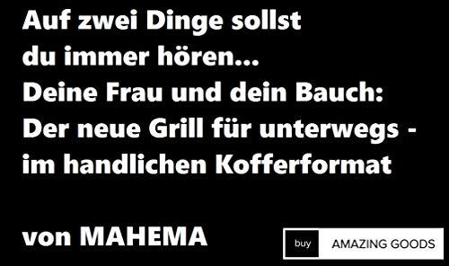 41fNHUfK4EL - Tragbarer Mini Grill inkl. Grillzange von MAHEMA VEGGIE Geeignet Holzkohlegrill tragbar, BBQ Grill faltbar Festivalgrill klappbarer Grill