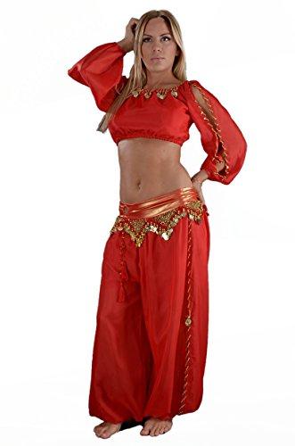 Orientalisch Bauchtanz Kostüm Kleidung rot, top mit Pailletten und Hose.