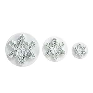 LIHAO Set di 3 coppapasta, a forma di fiocco di neve, per decorazione di fondente per torta