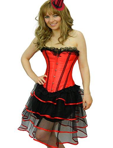 Yummy Bee - Burlesque Korsett mit Tutu Rock Kostüm Damen Größe 34 - 52 ( 50-52, Rot (Gras Korsett Mardi)