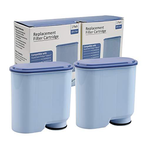 2 Stück Wasserfilter patrone für Philips und Saeco Kaffeevollautomaten, Wasserfilter zur Verhinderung von Kalkablagerungen für die automatische AquaClean KaffeeMaschine CA6903 / 10 / 00 / 01/ 22 / 47