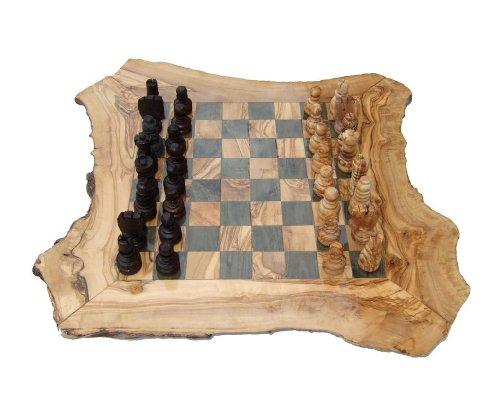 Naturally Med - Games Olivenholz Rustikal Schachspiel, groß, 50cm