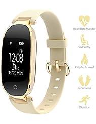 Pulsera Inteligente para mujeres Monitores de ritmo cardíaco Seguidores de la actividad de paso Pulsera inteligente IP67 Bluetooth con Sueño Pulsera Reloj Inteligente para iOS y Android Smartphone