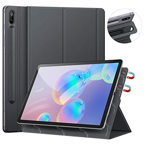 Ztotops Hülle für Samsung Galaxy Tab S6, Ultra dünn Smart Magnetische Abdeckung, Mit S Pen Halter und Auto Schlaf/Wach Funktion, für Samsung Galaxy Tab S6 10.5 Zoll 2019 (SM-T860/T865), Grau