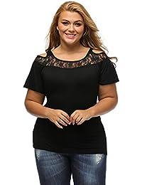 Exlura Damen Groß Größe Schulterfreie Spitzen Bluse oberteil V-Ausschnitt
