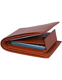 Pellet Pure Leather Album Tan Men's Slim Wallet with Card Holder and Coin Pocket (Tan)