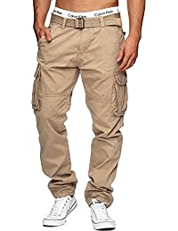 Indicode Uomo William Pantalone Cargo in Cotone con 7 Tasche incl. Cintura | Lungo Regular Fit Pantaloni Casual da Trekking Outdoor per Uomo