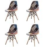 GroBKau - Juego de 4 sillas de Comedor Modernas de Mediados de Siglo, tapizadas con Tela de Patchwork, con Base de Madera de búho; Ideal para Sala de Estar, Comedor, cafetería, Sala de Espera, etc.