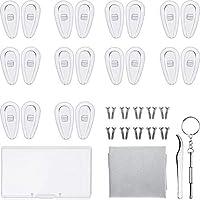 Almohadillas de Nariz para Gafas Silicona Almohadillas de Nariz Atornilladas para Gafas con Tornillos Pinzas Caja de Almacenamiento de Paño de Limpieza (15 mm)