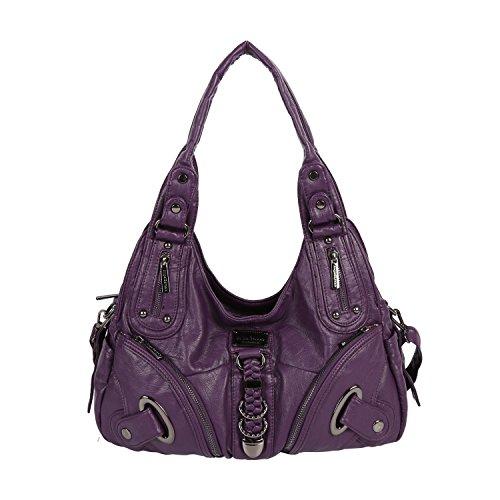 Angel Barcelo Weiches geräumiges Fashion Hobo Damen Handtaschen Damen Geldbeutel Tasche Schultertaschen Tasche gewaschen Ledertasche (AK11282-Lila) (Handtasche Lila Tasche)