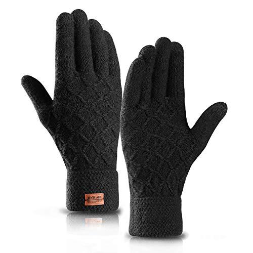 HZHY Handschuhe Herren Touchscreen,Winterwarme Strickhandschuhe mit Weichem Wollfutter in der Farbe Schwarz Navy (Schwarz, M)
