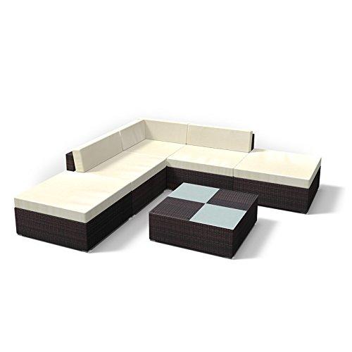 Rattan Gartenmöbel Lounge Set - Gemütliche 6-Teilige Sitzgruppe für Balkon, Polyrattan Gartengarnitur inkl. Tisch und Hocker (Braun)