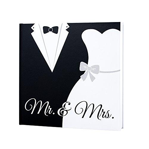 Livre d'or de mariage avec inscription «Mr & Mrs» en noir et blanc