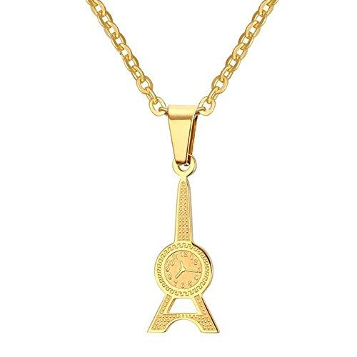 Aooaz Schmuck Edelstahl Halskette Damen Kette Gold Turm und Uhr Anhänger Halskette Kette 55cm