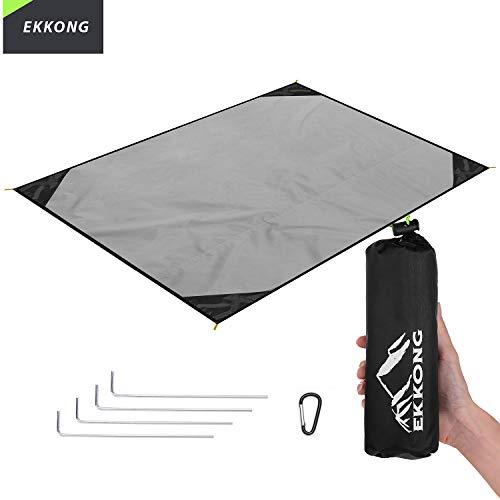EKKONG Picknickdecke Wasserdicht, Ultraleicht, Kleines Packmaß - Ideal für Ground Sheet, Pocket Blanket, Stranddecke, Taschendecke, Campingdecke, Sitzunterlage (200cm*200cm, Schwarz&Grau) -