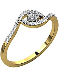 Silvernshine 0.19 Cts Round Cut Sim Diamond Twist Engagement Ring In 14KT White Gold PL