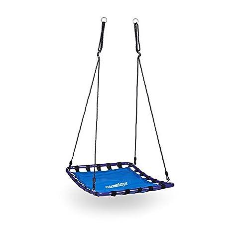 Relaxdays Balançoire nid d'oiseau carré pour le jardin à suspendre HxlxP: 153 x 98 x 74 cm poids max 113 kg, bleu noir