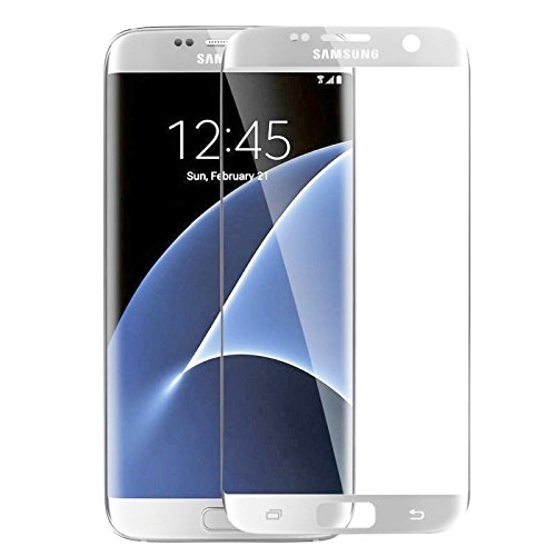 AccWorld Full Screen Coverage 9H HD Curved Tempered Glass Screen Protector for Samsung Galaxy S7 Edge (Silver)