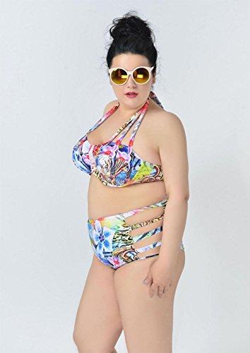 DONGDONGIn Dünger Bikini zu erhöhen, Frau aufgeteilt Badeanzug Muster flower