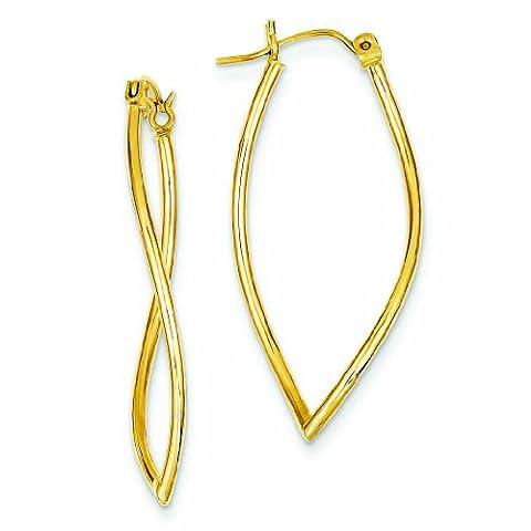 PriceRock 14K Gold Polished Fancy Hoop Earrings