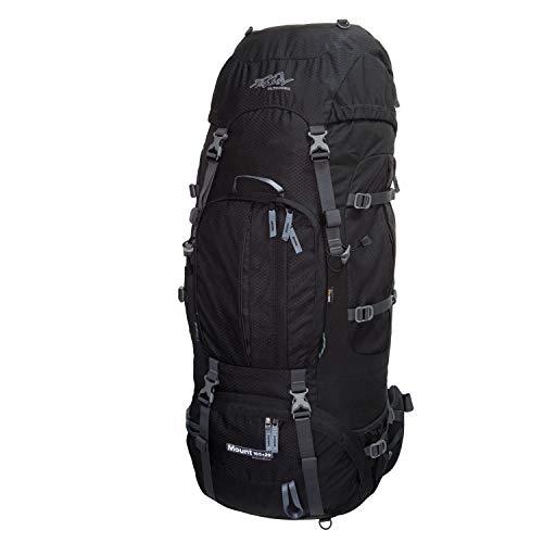 Tashev Outdoors Mount Trekkingrucksack Wanderrucksack Damen Herren Backpacker Rucksack groß 100l Plus 20l mit Regenschutz Schwarz (Hergestellt in EU)