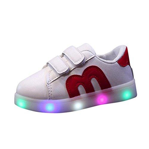 Led scarpe high-top lampeggiante luminosi sneakers sportivet--bambino adulto unisex-led con luci bright light bambino bambini ragazzi ragazze -scarpe da ginnastica basse unisex 20-29 (rosso, eu:21)