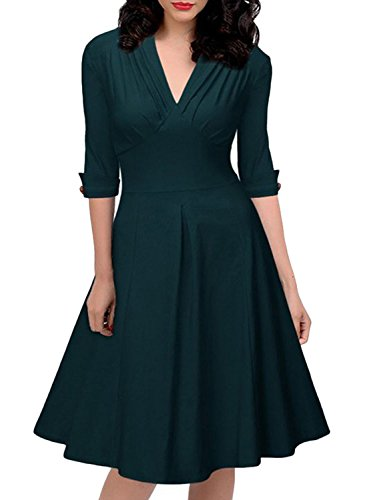 Azbro Women's Casual V-Neck 3/4 Slleeve Swing Dress Draklish Green