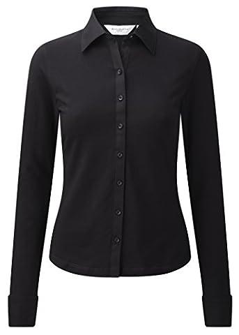 Ladies Long Sleeve Stretch Top Black
