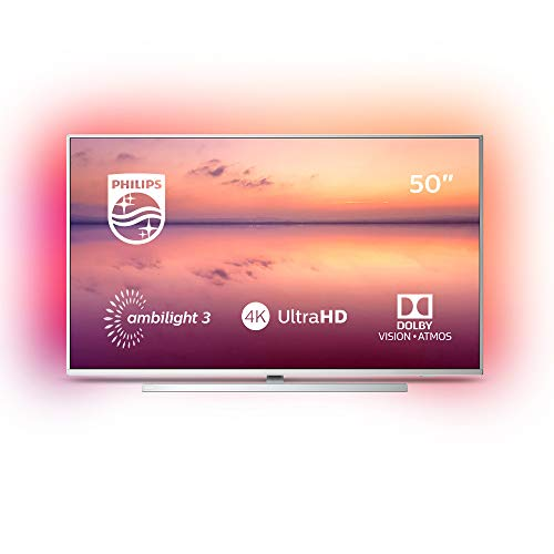 Philips 50PUS6814 - Smart TV Alexa Ultra HD 50' (Ambilight 3 Lados, HDR 10+, Dolby Vision + Atmos, 1200 PPI, sintonizador satélite, peana Central giratoria) Gris