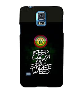 printtech Keep Calm Quotes Weed Back Case Cover for Samsung Galaxy S5 G900i::Samsung Galaxy S5 i9600::Samsung Galaxy S5 G900F