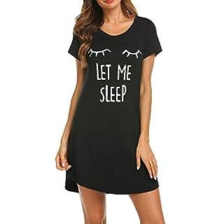 BaZhaHei Women's Short Sleeve Cartoon Print Comfort Nightgown Sleep Dress Pajamas Casual Straight Midi Dress Summer Evening Dresses