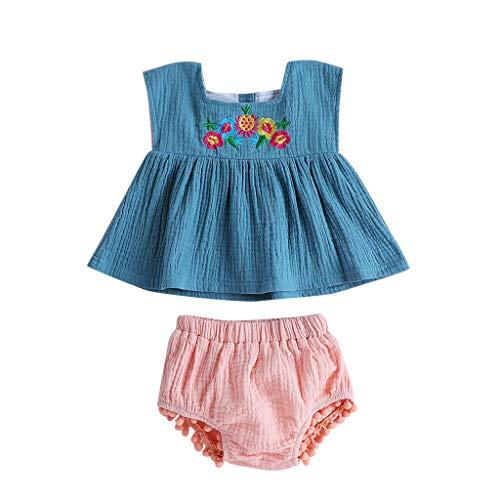27f439a48 Conjunto de Ropa Bebés Niños Verano Infantiles Camiseta sin Mangas Bordados  Florales Chaleco Tops Vaquero Mini Falda Conjunto de Trajes ...