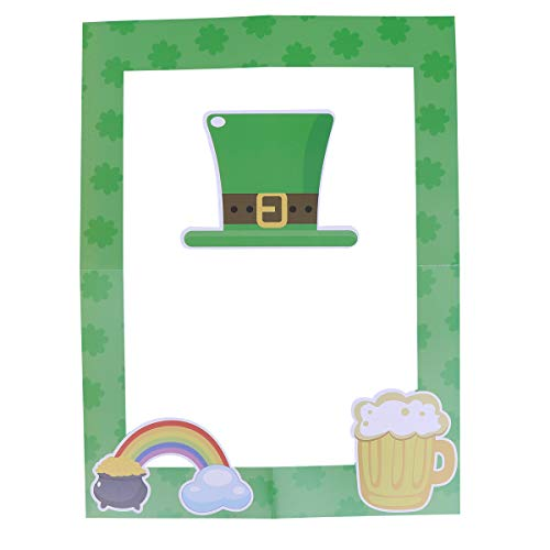 BESTOYARD St. Patrick's Day Kleeblatt Bilderrahmen Selfie Photo Booth Requisiten Dekoration für Irish Festival Party Supplies 2 Stücke (Irish Party Spiele)